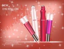 Grupo glamoroso de tubos com brilho do bordo e roll-on do olho Imagem de Stock