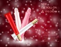 Grupo glamoroso de tubos com brilho do bordo e roll-on do olho Foto de Stock