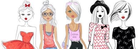 Grupo grande com meninas da forma ilustração stock