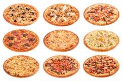 Grupo grande das melhores pizzas italianas isoladas no fundo branco fotografia de stock royalty free