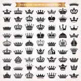 Grupo grande de ícones da coroa ilustração royalty free
