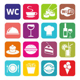 Grupo grande de ícones do café e do restaurante Imagem de Stock Royalty Free