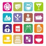 Grupo grande de ícones do café e do restaurante Projeto liso Imagem de Stock