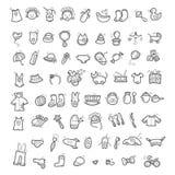Grupo grande de ícones escritos à mão de coisas da infância ilustração do vetor