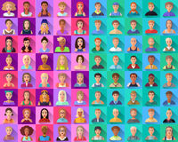 Grupo grande de ícones lisos de vários caráteres masculinos Fotografia de Stock Royalty Free