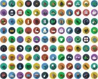 Grupo grande de ícones lisos do projeto do círculo Fotografia de Stock Royalty Free