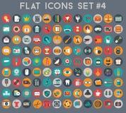 Grupo grande de ícones lisos do vetor com cores modernas imagem de stock