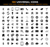 Grupo grande de 100 ícones lisos pretos universais - negócio, escritório, finança, ambiente e tecnologia