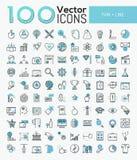 Grupo grande de 100 ícones modernos na linha estilo fina Imagens de Stock Royalty Free