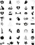 Grupo grande de ícones preto e branco dos termas Imagem de Stock Royalty Free