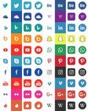 Grupo grande de ícones sociais dos meios para seu negócio simplesmente no projeto ilustração royalty free