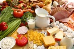 Grupo grande de alimentos Imagen de archivo libre de regalías