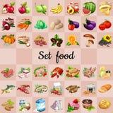 Grupo grande de alimentos e de ingredientes Imagens de Stock