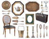 Grupo grande de artigos velhos lindos do vintage isolados no fundo branco imagem de stock royalty free