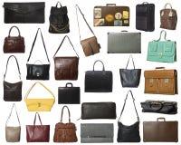 Grupo grande de bolsos aislados Fotos de archivo