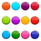 Grupo grande de botão brilhante do vetor ilustração stock