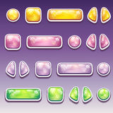 Grupo grande de botões coloridos dos desenhos animados de formas diferentes para Fotografia de Stock Royalty Free