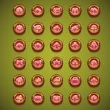 Grupo grande de botões de madeira dos desenhos animados para a interface de utilizador ilustração royalty free