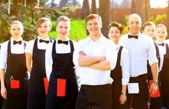 Grupo grande de camareros Foto de archivo