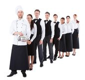 Grupo grande de camareros y de camareras que se colocan en fila fotografía de archivo libre de regalías
