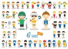 Grupo grande de 47 caráteres bonitos do esporte dos desenhos animados para crianças Meninas engraçadas dos desenhos animados ilustração stock