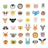 Grupo grande de caras animais bonitos Caráteres desenhados mão Ilustração do vetor ilustração do vetor