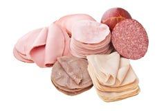 Grupo grande de carne cortada Imagens de Stock