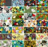 Grupo grande de cartões com pássaros e flores Imagens de Stock Royalty Free