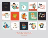 Grupo grande de cartões quadrados do inverno Imagens de Stock Royalty Free