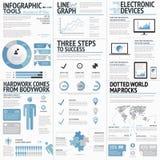 Grupo grande de colo azul do negócio dos elementos infographic ilustração stock