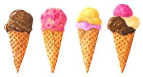 Grupo grande de cones de gelado diferentes de chocolate no waffle, clipart da aquarela ilustração stock