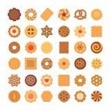 Grupo grande de cookies e de biscoitos Isolado no fundo branco Foto de Stock
