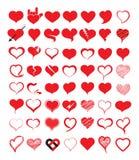 Grupo grande de coração Ilustração do vetor Fotografia de Stock