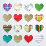 Grupo grande de 16 corações coloridos do álbum de recortes Imagem de Stock