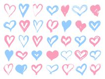 Grupo grande de corações cor-de-rosa e azuis do grunge Elementos do projeto para o dia de Valentim Formas do coração da ilustraçã ilustração stock