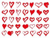 Grupo grande de corações vermelhos do grunge Elementos do projeto para o dia de Valentim Formas do coração da ilustração do vetor ilustração stock