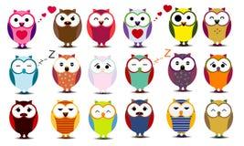 Grupo grande de corujas dos desenhos animados Fotografia de Stock