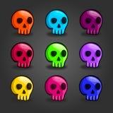 Grupo grande de crânios coloridos desenhos animados Imagem de Stock Royalty Free