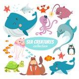 Grupo grande de criaturas do mar dos desenhos animados ilustração stock