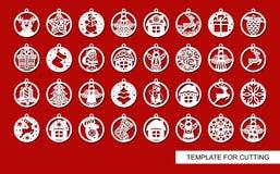 Grupo grande de decorações do Natal ilustração do vetor