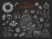 Grupo grande de decorações do Natal no estilo do esboço no fundo preto Fotografia de Stock