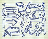 Grupo de doodle da seta ilustração royalty free