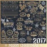 Grupo grande de elementos caligráficos do projeto do Natal ilustração royalty free