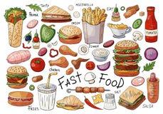 Grupo grande de elementos de cor do fast food: sanduíches, hamburgueres, petiscos isolados no fundo branco ilustração do vetor
