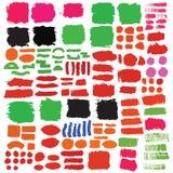 Grupo grande de elementos do projeto da tinta das escovas Imagens de Stock