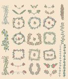 Grupo grande de elementos florais do projeto gráfico Imagens de Stock