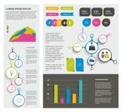 Grupo grande de elementos infographic lisos Imagens de Stock