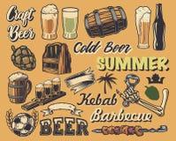 Grupo grande de elementos para o projeto de cartazes do vintage ilustração stock