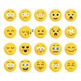 Grupo grande de 20 emoticons cartoonish do vetor de alta qualidade, no estilo liso do projeto Projeto diferente engraçado do esti Imagem de Stock