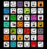 Grupo grande de expressões faciais dos desenhos animados Imagens de Stock Royalty Free